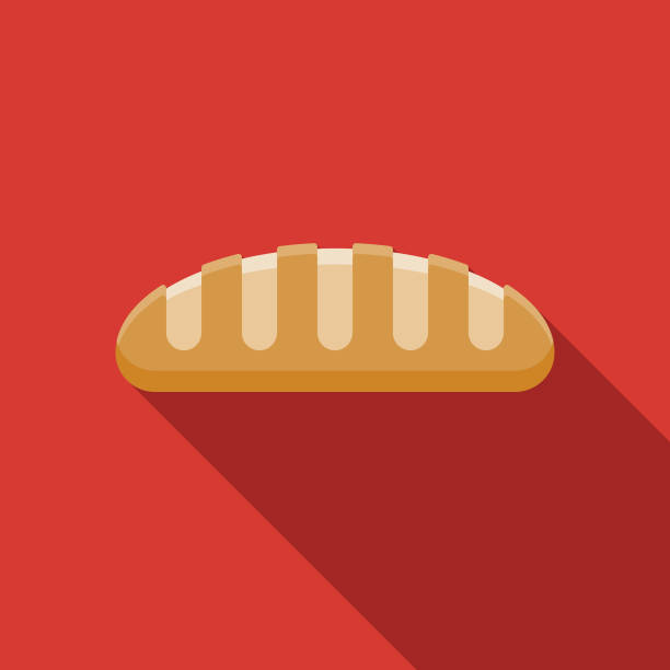 Baguette Flat Design France Icon A flat design France themed icon with a long side shadow. Color swatches are global so it's easy to edit and change the colors. bread clipart stock illustrations