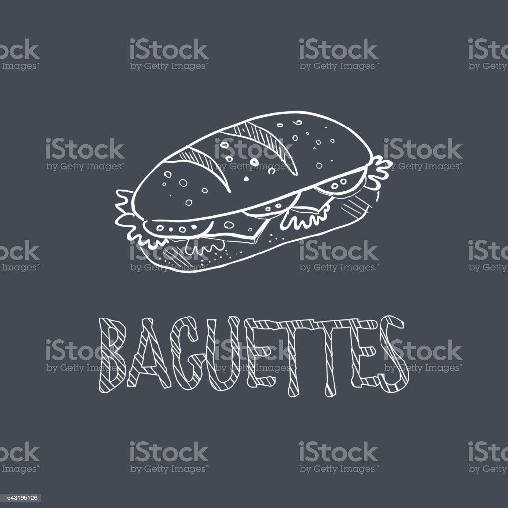 Baguette de Style dessin à la craie sur tableau noir article du Menu - Illustration vectorielle