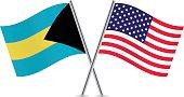 Bahamas and American flags. Vector.