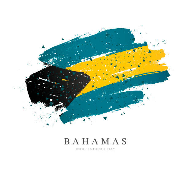Bahamas Flagge. Vektor-Illustration auf weißem Hintergrund. Pinselstriche – Vektorgrafik
