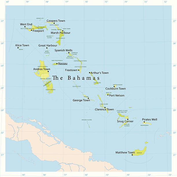 Bahamas Vector Map Detailed vector map of The Bahamas with administrative divisions. File was created on November 28, 2013. The colors in the .eps-file are ready for print (CMYK). Included files: EPS (v10) and Hi-Res JPG (5600× 5600 px). vector map green stock illustrations