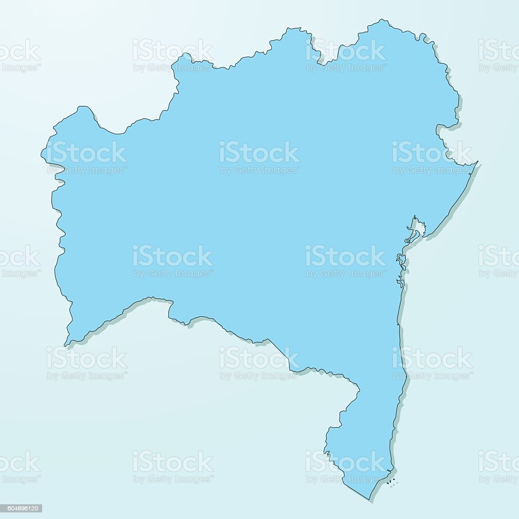 Bahia blue map on degraded background vector - ilustração de arte em vetor