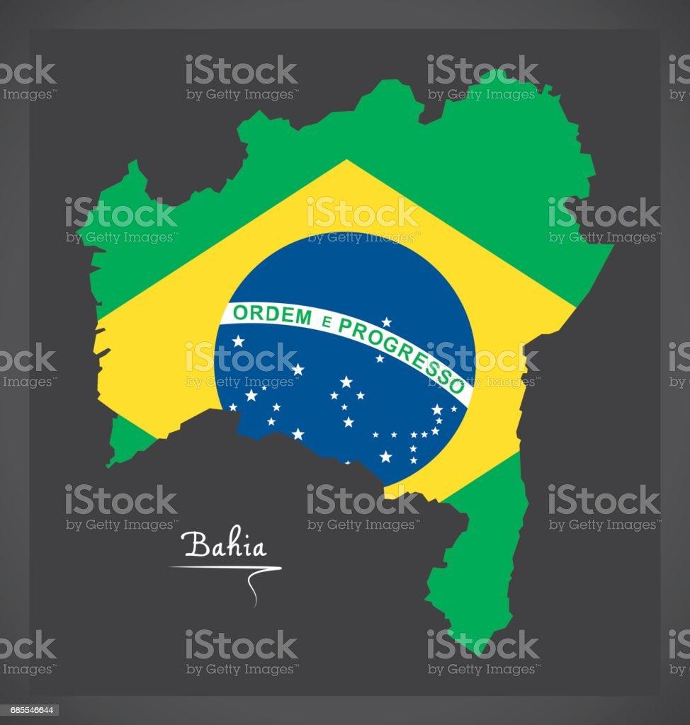 Mapa da Bahia com ilustração da bandeira nacional brasileira - ilustração de arte em vetor