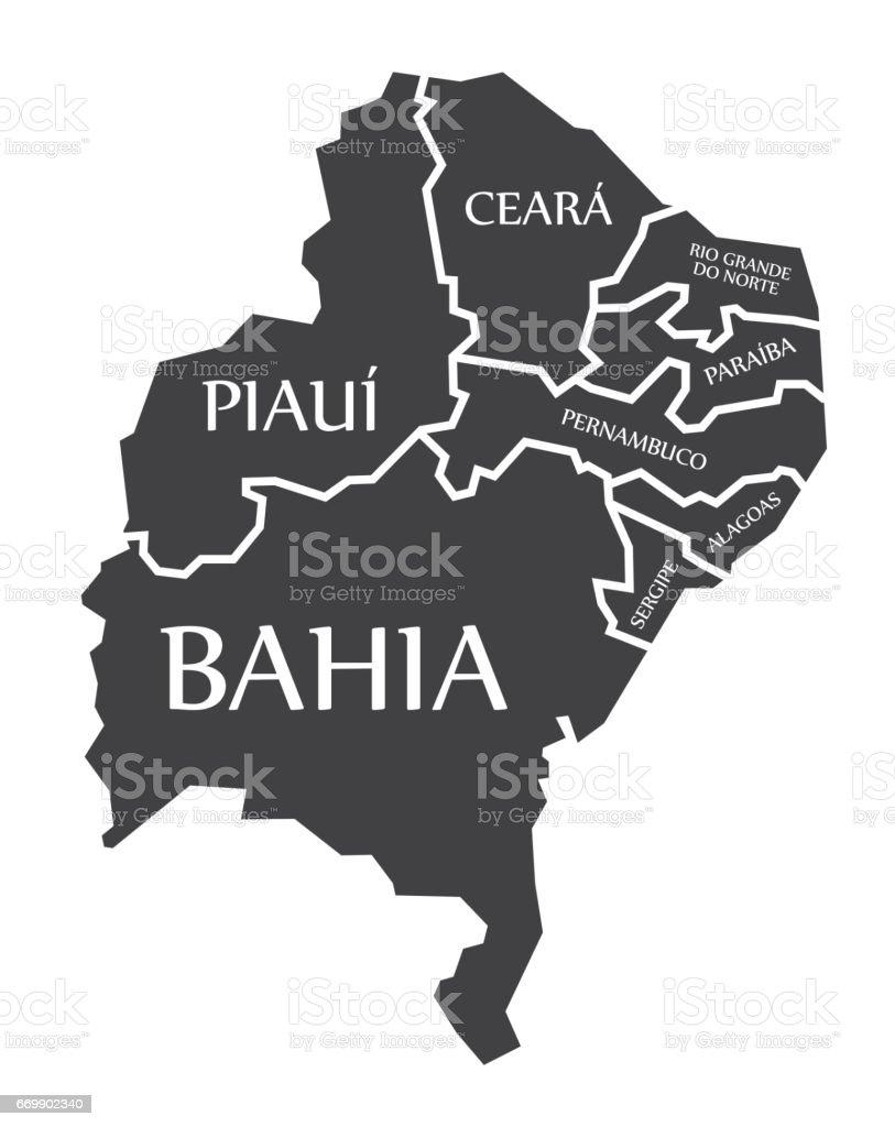 Bahia - Piaui - Ceara - Sergipe - Pernambuco - Alagoas - Paraiba - Rio Grande Do Norte Map Brazil illustration - ilustração de arte em vetor
