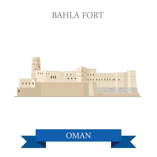 bahla fort in oman. flat cartoon style historic sight showplace attraction web site vector illustration. world countries cities vacation travel sightseeing asia collection. - oman stock illustrations