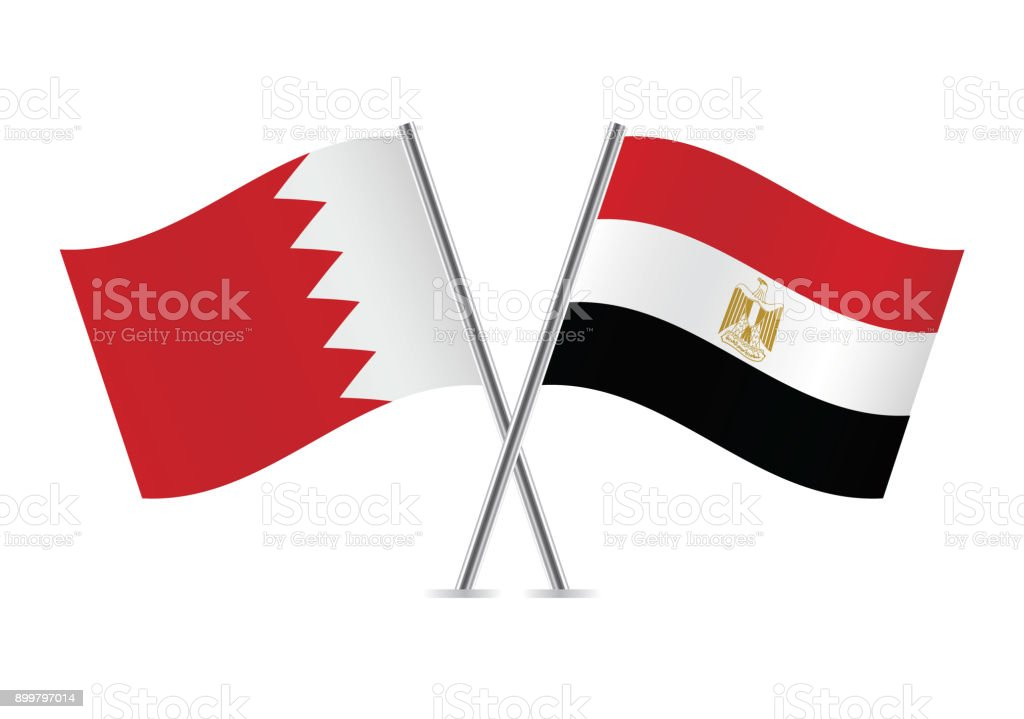 Bahrain and Egypt flags. Vector illustration.