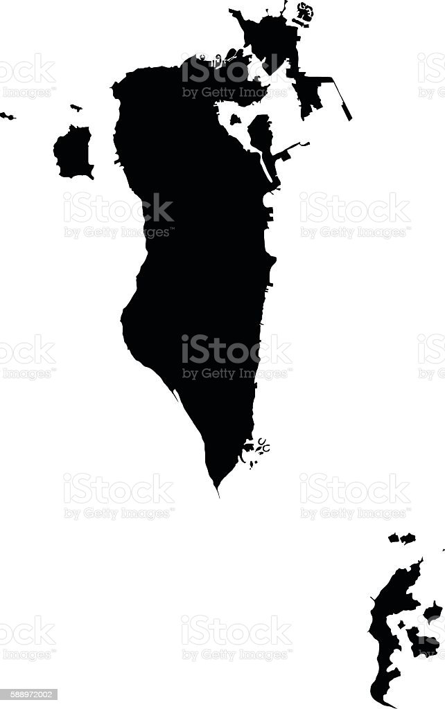 Bahrain black map on white background vector vector art illustration