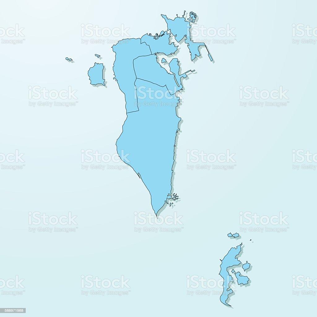 Bahrain blue map on degraded background vector vector art illustration