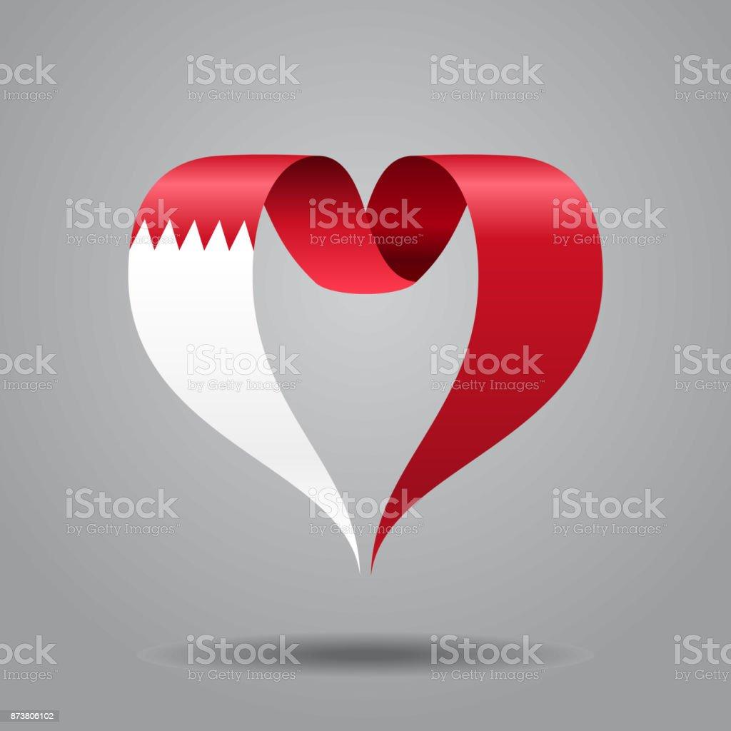 Bahrain flag heart-shaped ribbon. Vector illustration. vector art illustration
