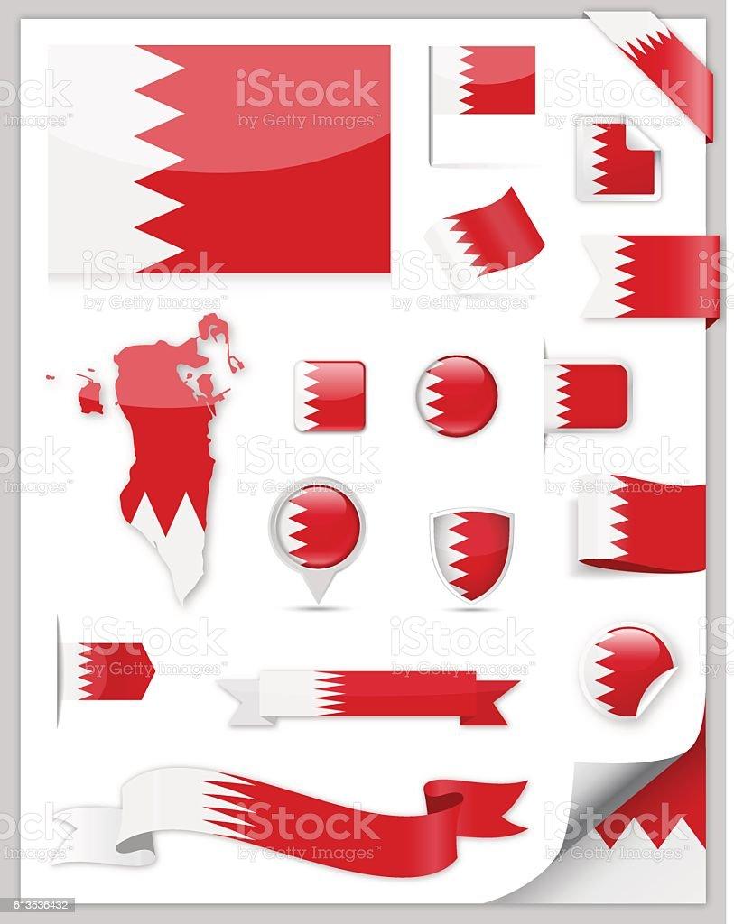 Bahrain Flag Set - Vector Collection vector art illustration