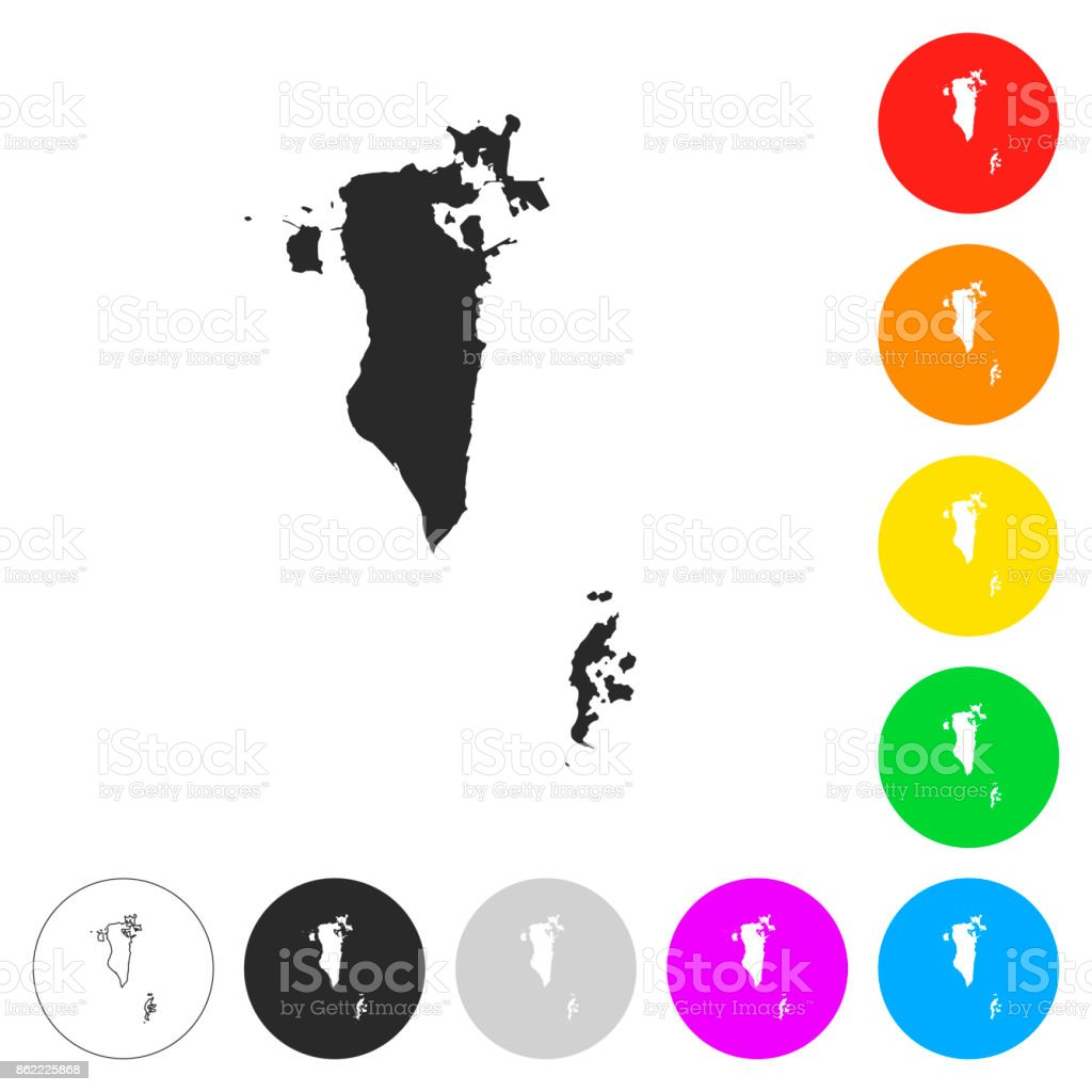 Bahrain map - Flat icons on different color buttons vector art illustration