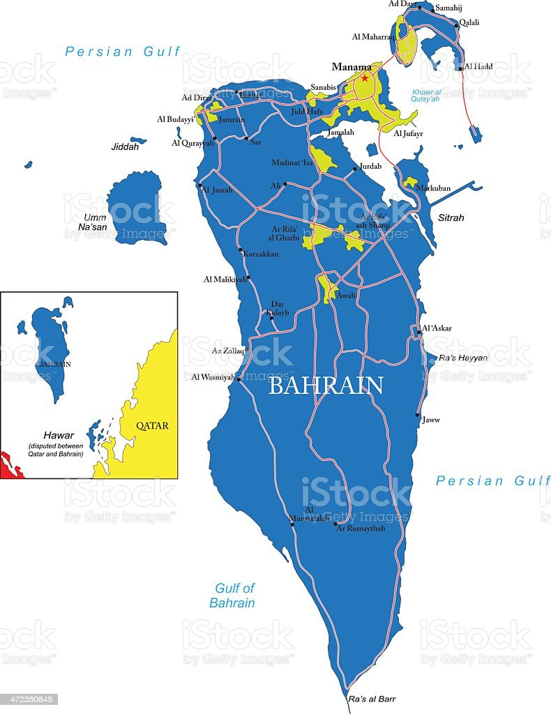 Bahrain Map Stock Vector Art & More Images of Bahrain | iStock