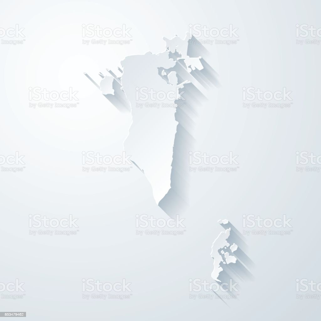 Bahrain map with paper cut effect on blank background vector art illustration