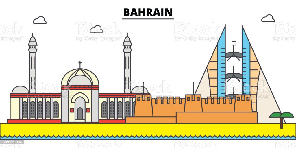 a7facdd9527e Bahrain Outline City Skyline Linear Illustration Banner Travel ...