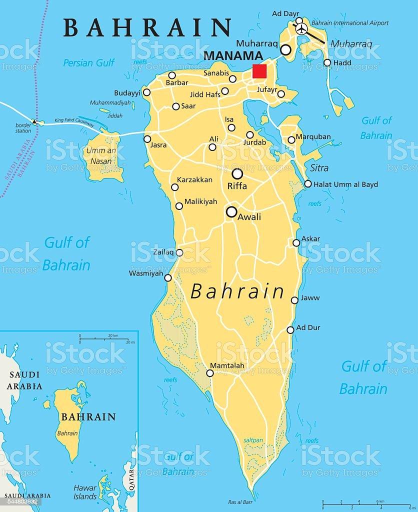 Bahrain Political Map vector art illustration