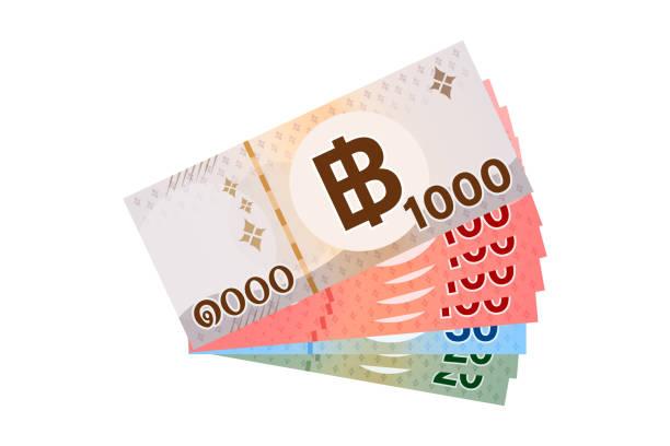 stockillustraties, clipart, cartoons en iconen met 1.490 baht thais bankbiljet geld, thaise munt duizend vierhonderdnegentig thb concept, banknota geld thailand baht voor het bedrijfsleven en financiën icoon, stapel papier geld geïsoleerd op wit - thaise munt