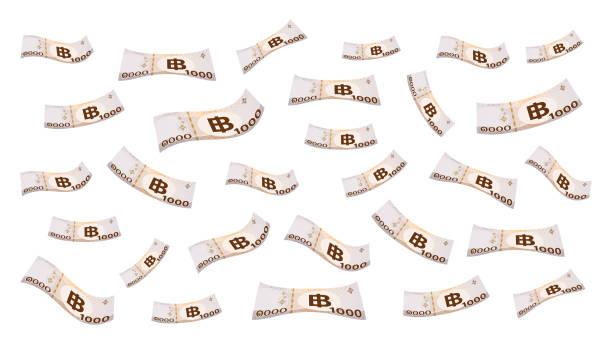 stockillustraties, clipart, cartoons en iconen met 1000 baht thais geld dat geïsoleerd op witte achtergrond vliegt, bankbiljetgeld dat van hoogste beeld valt, thaise munt duizend thb, vele illustratie van het documentgeld, achtergrondgeldbanknota van thailand - thaise munt
