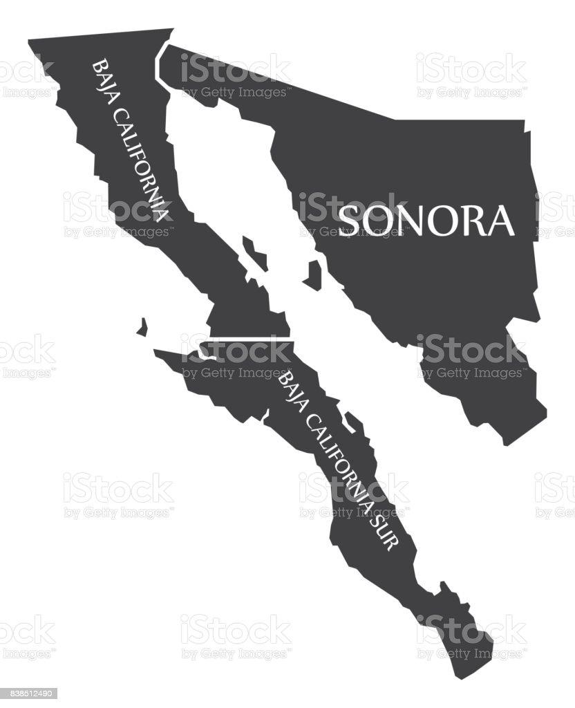 Ilustración de baja California - Sonora - Baja California Sur mapa México - ilustración de arte vectorial