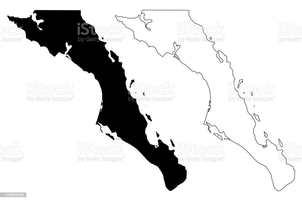 Vector de baja California Sur mapa - ilustración de arte vectorial