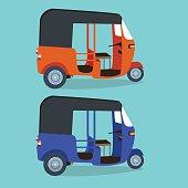 bajaj bajai indonesia transportaion drawing flat vector illustration jakarta urban