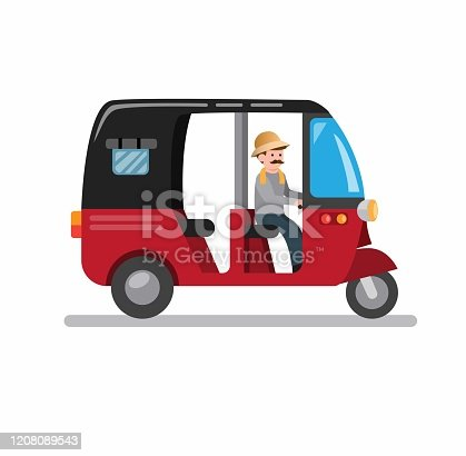 bajaj traditional transportation in jakarta indonesia, three wheel vehicle from asian cartoon flat illustration vector isolated in white background