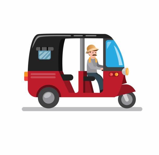 자카르타 인도네시아에서 bajaj 전통 교통, 아시아 만화 평면 일러스트 벡터에서 세 바퀴 차량 흰색 배경에 고립 - 자카르타 stock illustrations