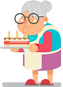 Bake complimentary cake Household Granny Old Lady Character Cartoon Flat