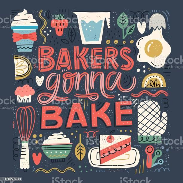 Bake Lettering Quote - Arte vetorial de stock e mais imagens de Amor