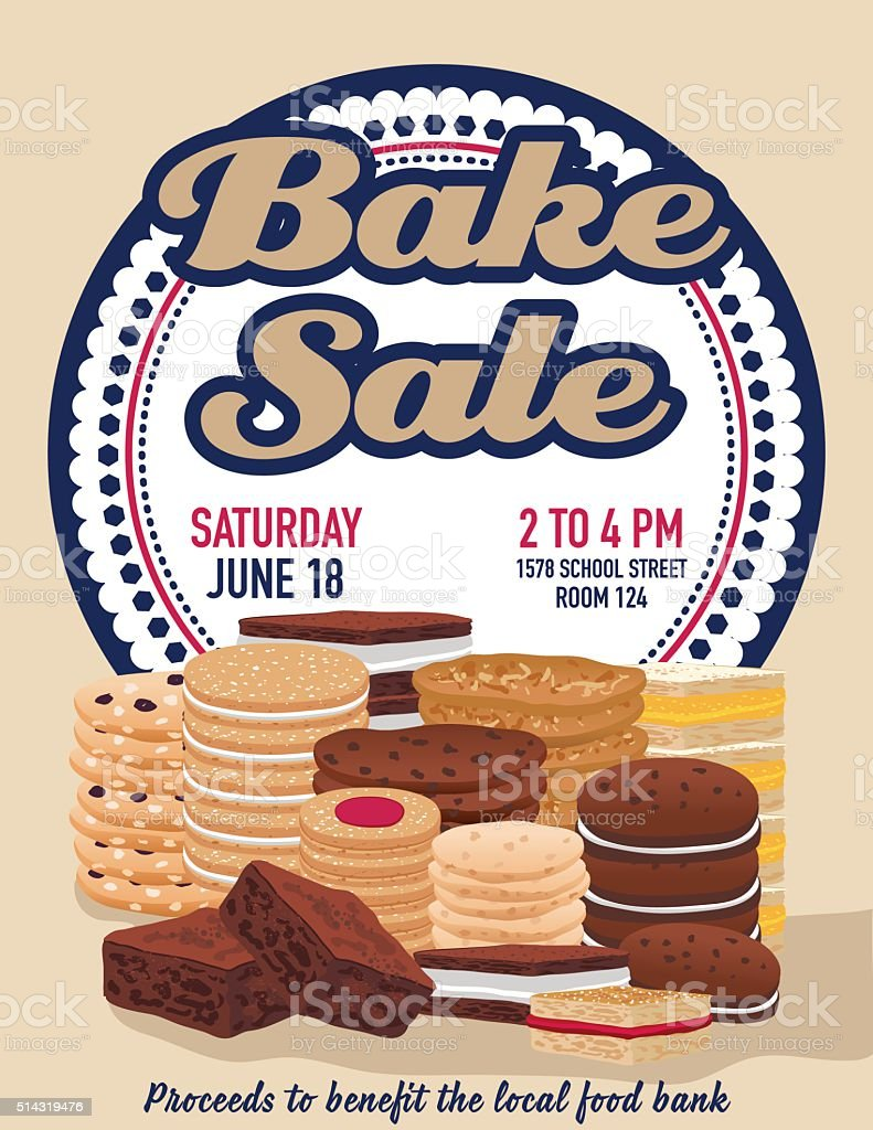 Bake sale poster template With Cookies Brownies and Bars vector art illustration