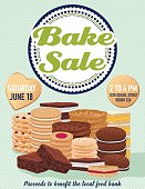 Bake sale poster template. There are stacks of assorted cookies, brownies and bars. Includes space for text to add details about the event. Great for fundraisers and charity events. Brown and pink theme.