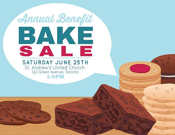 bildbanksillustrationer, clip art samt tecknat material och ikoner med bake sale poster template with cookies brownies and bars - brownie