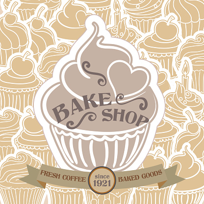 Bake Shop Poster with Cupcake Pattern Background