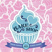 Bake Shop Poster with Cupcake Pattern Background. The poster has a larger cupcake with bake sale text in the middle of a cupcake pattern background. There is a banner along the bottom with text saying fresh coffee and baked goods with a round center for the establishment date.