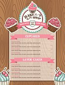 Bake Shop or Cafe Stickers Menu With Cupcake and Ribbon. There is a wooden background with lots of grain. Several layers for easy editing.