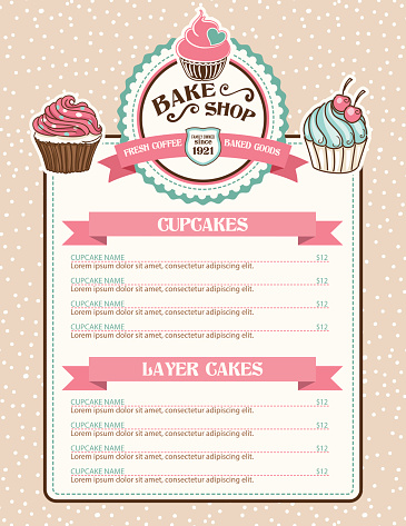 Bake Shop Sticker With Cupcake and Ribbon