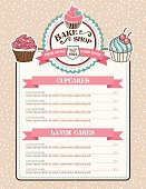 Bake Shop or Cafe Stickers Menu With Cupcake and Ribbon. There is a polka dot background with lots of grain. Several layers for easy editing.
