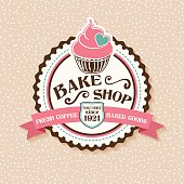 istock Bake Shop Sticker With Cupcake and Ribbon 515377250