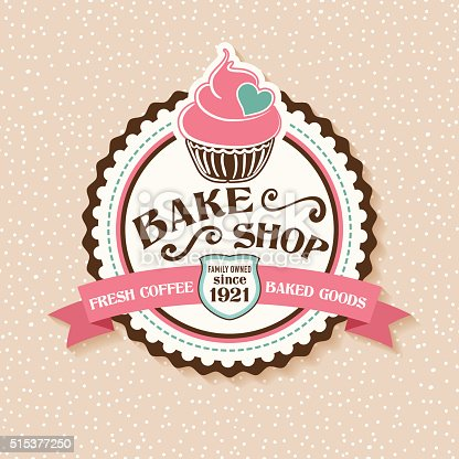 Bake Shop or Cafe Sticker With Cupcake and Ribbon.