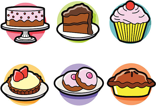bake shop Vector illustrations of various bakery goodies. cake clipart stock illustrations