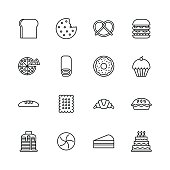 istock Baked bakery bread icons - line 643835638