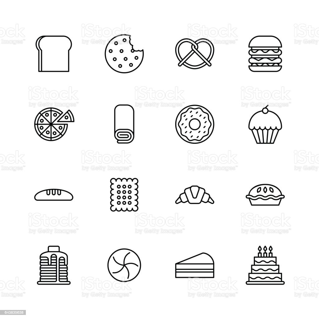 Baked bakery bread icons - line vector art illustration