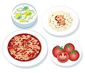 Vector Baked beans and Rice and Tzatziki, Tomato, Kuru Fasülye