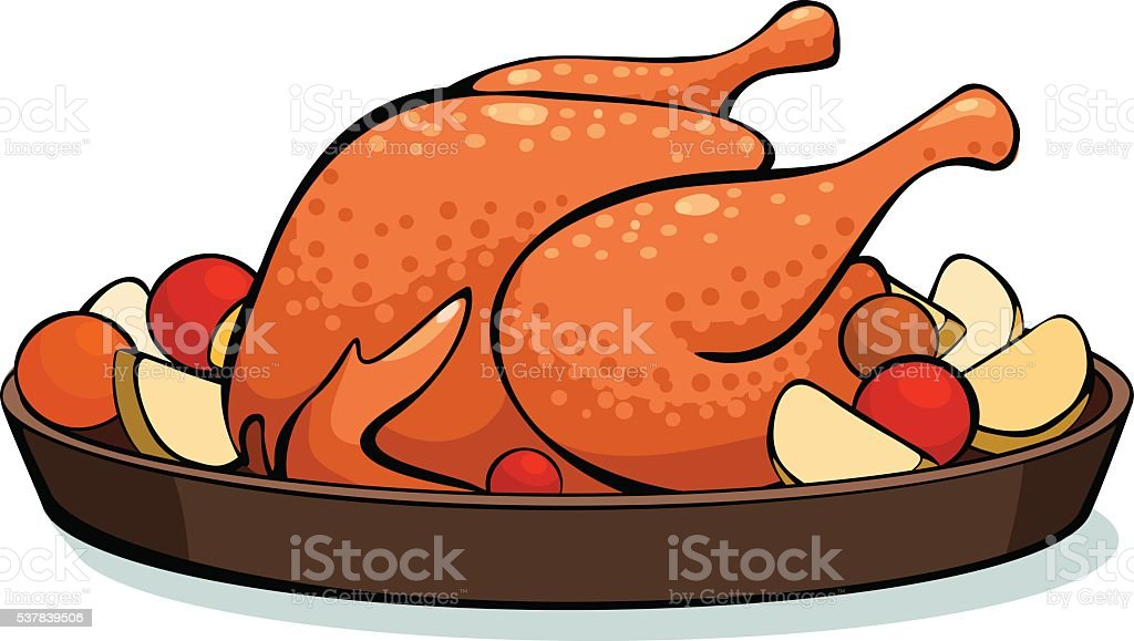 baked chicken with vegetables vector art illustration