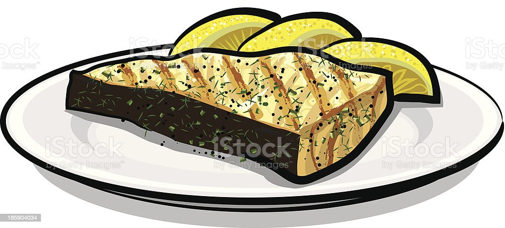 baked fish vector art illustration