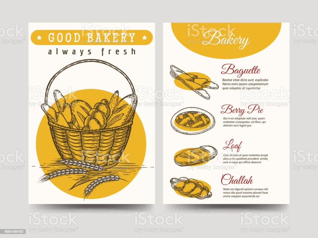 Baked goods brochure flyer template vector art illustration