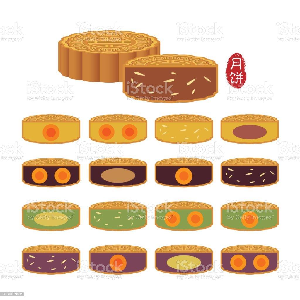 baked mooncake vector art illustration