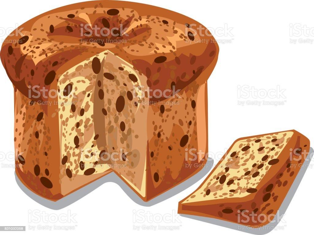 baked panettone cake vector art illustration