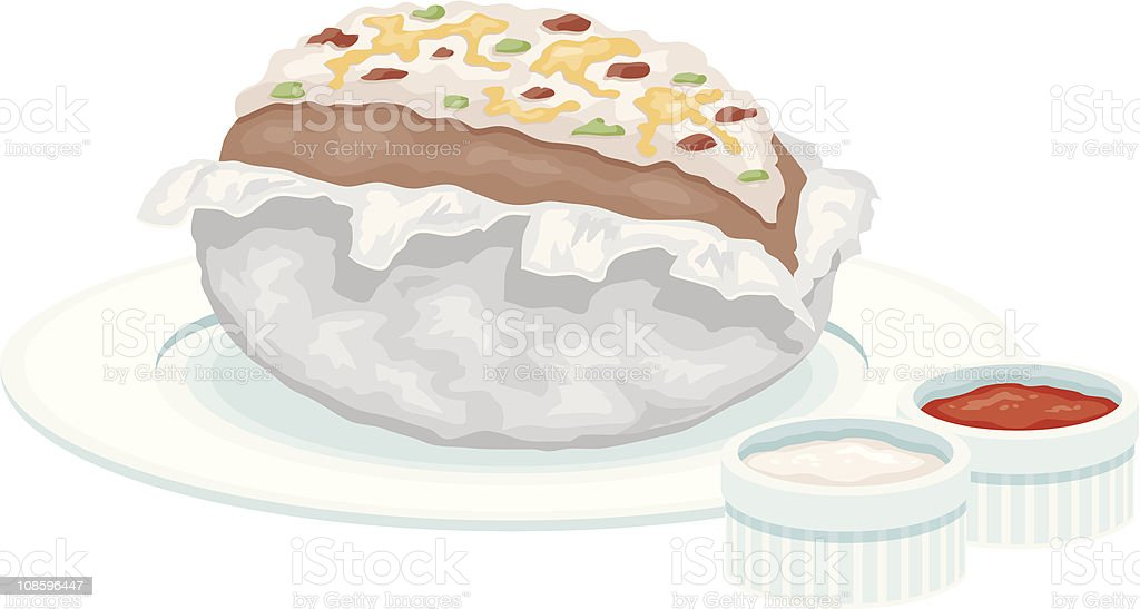 Baked potato vector art illustration