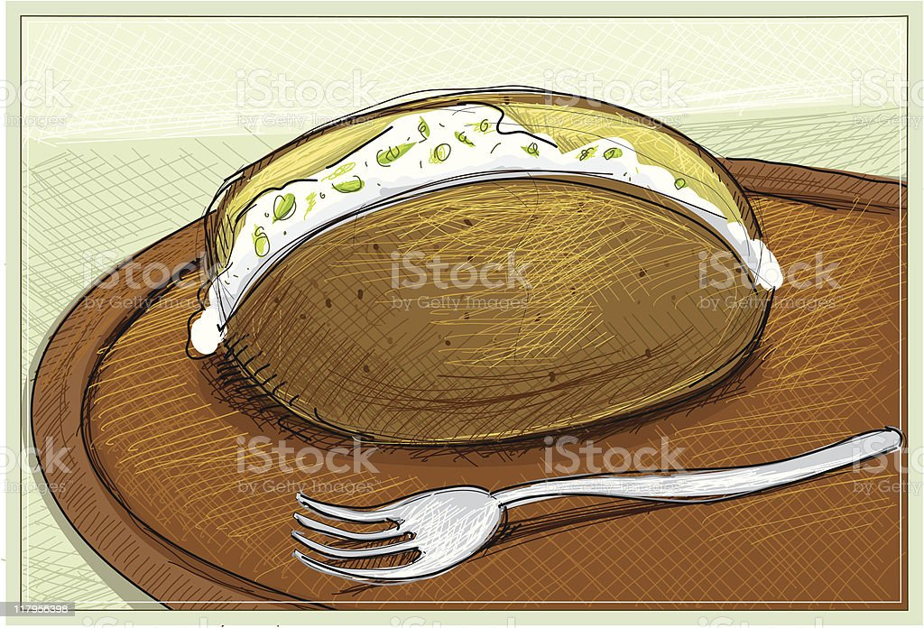 baked potatoe vector art illustration