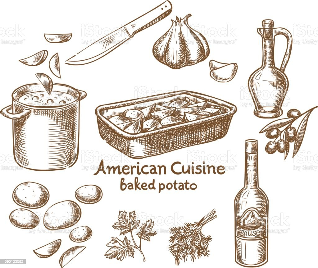 Baked potatoes and ingredients vector art illustration